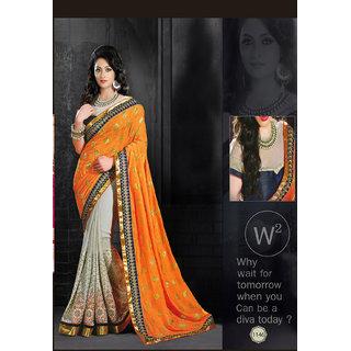 Priyanka Women's Jacquard Fancy Thread Work Saree (Latest Designer Sarees /Party wear sarees /New collection sarees) SUNSAF1146Orange
