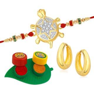 VK Jewels Classy Tortoise Gold and Rhodium Plated Alloy CZ American Diamond Rakhi for Men - [VKRAKHI1222G]