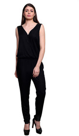 Black solid jumpsuit with embellishments on the shoulders