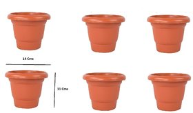 Plastic Flower Pots(11 X 14 cm) - Set of 6 (S.No-111)