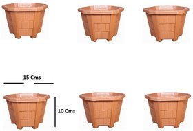 Hexagon Plastic Flower Pots(15 X 10 cm) - Set of 6