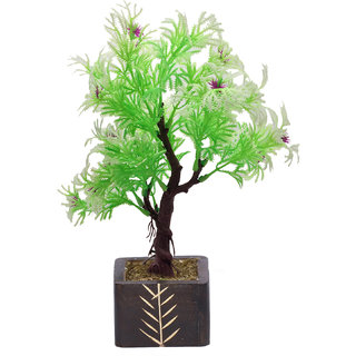 Random 3 Branched Artificial Bonsai Tree with Green and White Leaves and Purple Flowers