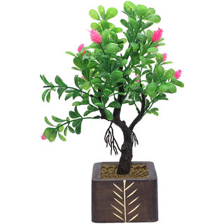 Random Y Shaped Artificial Bonsai Tree with Green Leaves and Pink Cone Shaped Flowers