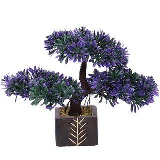 Random 3 Headed Artificial Bonsai Tree with Green and Purple Leaves