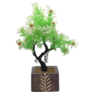 Random Y Shaped Artificial Bonsai Tree with Green and White Leaves and Red Flowers