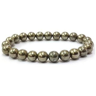 Natural Pyrite Stretch Bracelet 8MM Round Beads