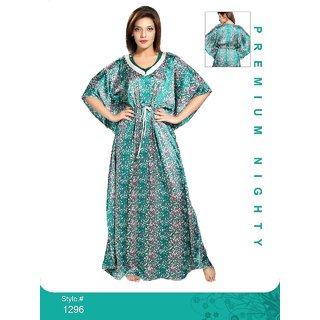 2c84fc6f3c Buy Womens Night Gown 1 Nightwear 1295 Rama Green Printed Kaftan Nightie  Long Maxi New Daily Bed Dress Online   ₹1290 from ShopClues