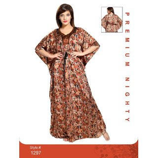 3744dcab06 Buy Womens Night Gown 1 Nightwear 1297 Brown Printed Kaftan Nightie Long  Maxi New Daily Bed Dress Online   ₹1290 from ShopClues