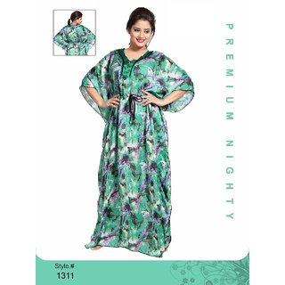 3799b33470 Womens Night Gown 1 Nightwear 1311 Blue Printed Kaftan Nightie Long Maxi  New Daily Bed Dress