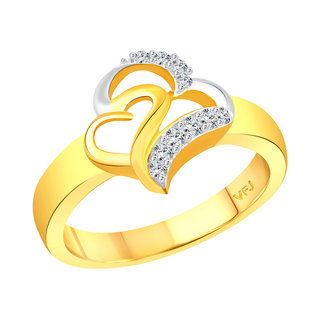 Vighnaharta New Couple Heart CZ Gold and Rhodium Plated Alloy Ring for Women and Girls
