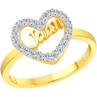 Vighnaharta My Love JAAN CZ Gold and Rhodium Plated Alloy Ring for Women and Girls
