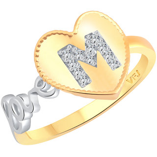 Vighnaharta Valentine Love M Letter in Heart CZ Gold and Rhodium Plated Alloy Ring for Women and Girls