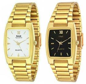 HWT Men Rectangle Dail Gold Metal Strap Analog Watch
