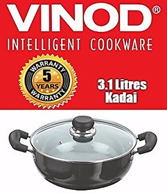 Vinod Cookware 3.1Ltrs Black Pearl World Class Hard Anodised Deep Kadai with Lid
