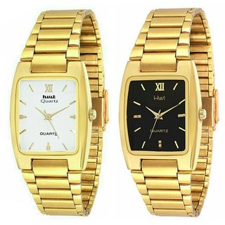 HWT Men Rectangle Dail Gold Metal Strap Analog Watch