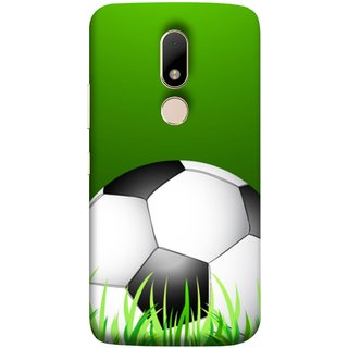 FUSON Designer Back Case Cover for Motorola Moto M (Football Green Ground Ball Black White Fifa League )