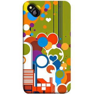 FUSON Designer Back Case Cover for Micromax Bolt D303 (Multi Designs Squares Circles Hearts Mehandi)