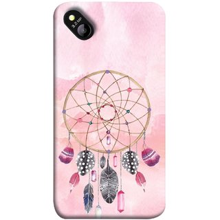 FUSON Designer Back Case Cover for Micromax Bolt D303 (Pink Circle Design Birds Feathers Diamonds Ruby )