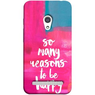 FUSON Designer Back Case Cover For Asus Zenfone 6 A600CG (Oil Painting Canvas Best Quotes Words Find Happiness)