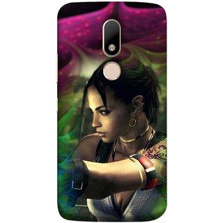 FUSON Designer Back Case Cover for Motorola Moto M (Anime Ninja Girl Wallpaper Cartoon Tatoo Design )