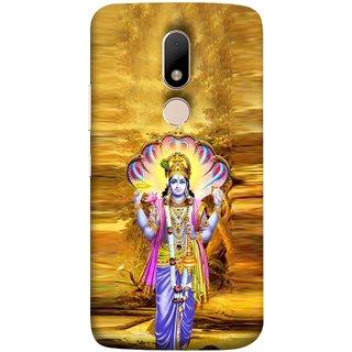 FUSON Designer Back Case Cover for Motorola Moto M (Krishna With Murli Sheshnag Morpankh Lotus Makhanchor)