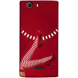 FUSON Designer Back Case Cover for Micromax Canvas Nitro 2 E311 (High Heel Red And White Socks Beautiful Legs Girl)