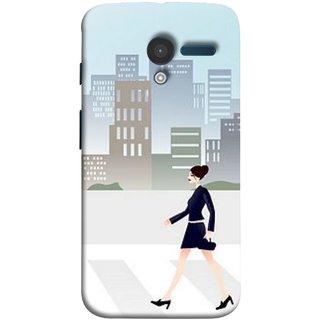 FUSON Designer Back Case Cover for Motorola Moto X :: Motorola Moto  X (1st Gen) XT1052 XT1058 XT1053 XT1056 XT1060 XT1055  (Morden Girl Building Blue Outfit Purse Zebra Cross)