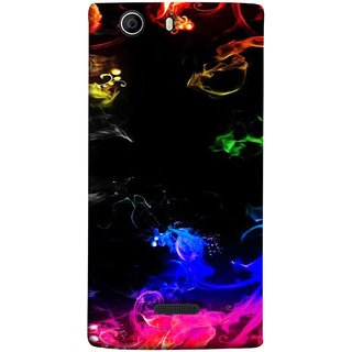 FUSON Designer Back Case Cover for Micromax Canvas Nitro 2 E311 (Smoking Painting Sprials Blue Black Green Leaves )