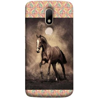 FUSON Designer Back Case Cover for Motorola Moto M (Beautiful Horse Black And White Brown Canvas Wallpaper)