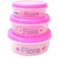 Sonickarts Set of 3 Round Plastic Storage Container for