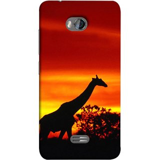 FUSON Designer Back Case Cover for Micromax Bolt Q336 (Africa Sunset Giraffe Evening Wildlife Animals )