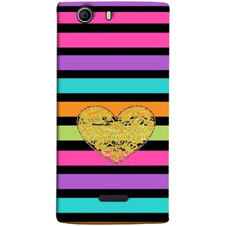 FUSON Designer Back Case Cover for Micromax Canvas Nitro 2 E311 (Sprinkle Gold Glitter Heart Flag Hearts Valentine)