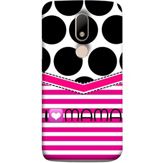 FUSON Designer Back Case Cover for Motorola Moto M (Pink Design Paper Big Black Circles Bubbles Mother )