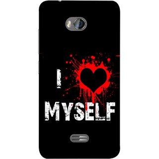 FUSON Designer Back Case Cover for Micromax Bolt Q336 (I Love Myself Bloody Heart Black Background)