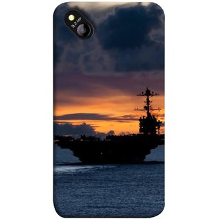 FUSON Designer Back Case Cover for Micromax Bolt D303 (Sunrise Sunset With Silhouette Of Navy Ship Sailing Away)