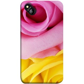 FUSON Designer Back Case Cover for Micromax Bolt D303 (Pink Red Baby Yellow Shades Friendship Flowers Roses)