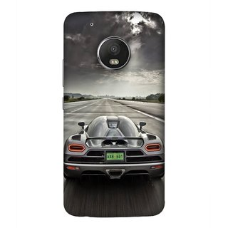 FUSON Designer Back Case Cover For Motorola Moto G5 Plus (Trees Silver Sports Car Led American Muscle Cars)
