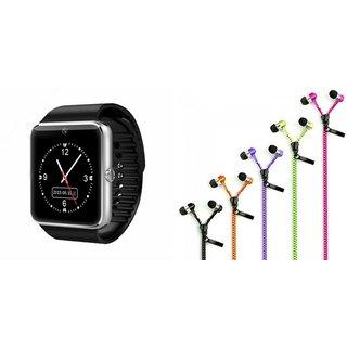 Mirza GT08 Smart Watch and Zipper Earphone  for LENOVO a850(GT08 Smart Watch with 4G sim card, camera, memory card  Zipper  Earphone )