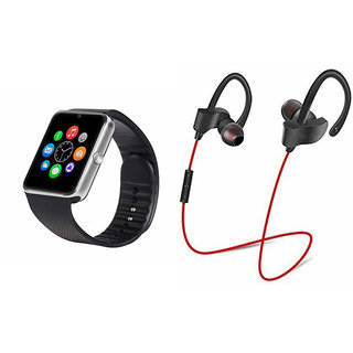 Mirza GT08 Smart Watch and QC 10 Bluetooth Headphone for XOLO ERA HD(GT08 Smart Watch with 4G sim card, camera, memory card |QC 10 Bluetooth Headphone )