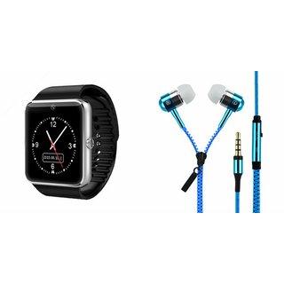 Mirza GT08 Smart Watch and Zipper Earphone  for HTC DESIRE 825(GT08 Smart Watch with 4G sim card, camera, memory card |Zipper  Earphone )