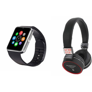 Mirza GT08 Smart Watch and SH 10 Bluetooth Headphone for MICROMAX BOLT Q332(GT08 Smart Watch with 4G sim card, camera, memory card |SH 10 Bluetooth Headphone )