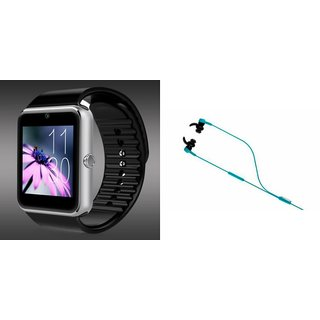Mirza GT08 Smart Watch and Reflect Earphone  for HTC 10(GT08 Smart Watch with 4G sim card, camera, memory card |Reflect  Earphone )