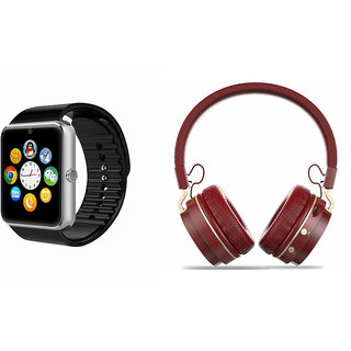 Mirza GT08 Smart Watch and SH 10 Bluetooth Headphone for Samsung J7 Prime(GT08 Smart Watch with 4G sim card, camera, memory card |SH 10 Bluetooth Headphone )