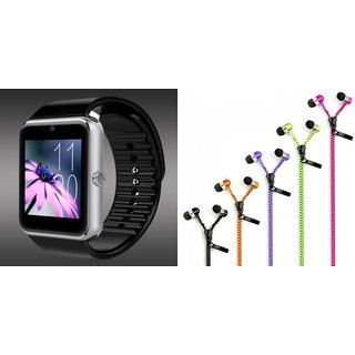 Mirza GT08 Smart Watch and Zipper Earphone  for PANASONIC P4 1(GT08 Smart Watch with 4G sim card, camera, memory card |Zipper  Earphone )
