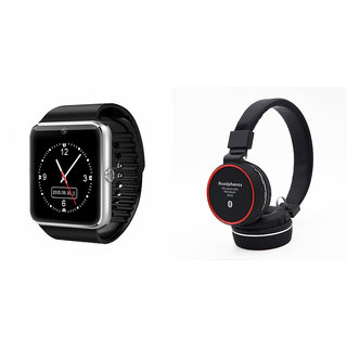 Mirza GT08 Smart Watch and SH 10 Bluetooth Headphone for HTC DESIRE XDS(GT08 Smart Watch with 4G sim card, camera, memory card |SH 10 Bluetooth Headphone )
