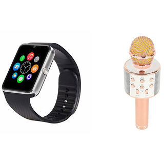 Mirza GT08 Smart Watch and WS 858 Microphone Karrokke Bluetooth Speaker for SAMSUNG GALAXY ACE 4 LTE(GT08 Smart Watch with 4G sim card, camera, memory card  WS 858 Microphone Karrokke Bluetooth Speaker  )