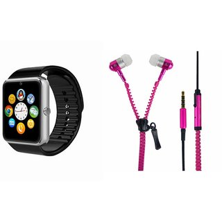 Mirza GT08 Smart Watch and Zipper Earphone  for SAMSUNG GALAXY E 5(GT08 Smart Watch with 4G sim card, camera, memory card |Zipper  Earphone )
