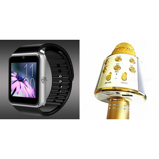 Mirza GT08 Smart Watch and WS 858 Microphone Karrokke Bluetooth Speaker for MICROMAX CANVAS SELFIE 3(GT08 Smart Watch with 4G sim card, camera, memory card  WS 858 Microphone Karrokke Bluetooth Speaker  )