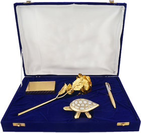 24K Gold Rose, Gold Playing Cards, Feng-shui Tortoise And Crystal Filled Gold Plated Pen Gift Set