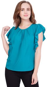 Flax Fashion Tan Green Stylish Casual Girl's  Women's TOP